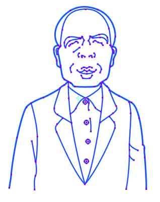 祖父の似顔絵の線画