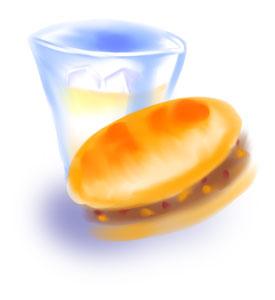 くら寿司のシャリカレーパンとコーラの絵描いてみた