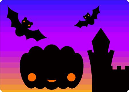 ハロウィンのイラスト かぼちゃとコウモリとお城