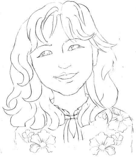 海外の女性の似顔絵アイコン花柄