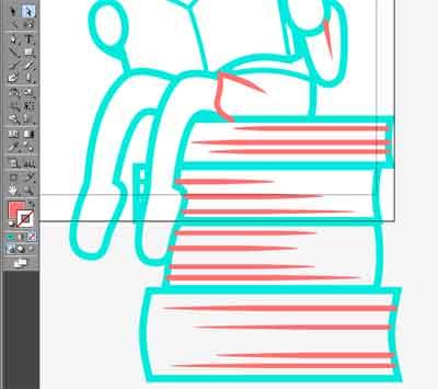 本の素材制作線のはじを尖らせたところ