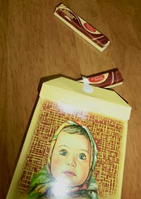 ロシアのチョコレート個別包装の様子