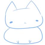 猫キャラ下絵の線画の様子