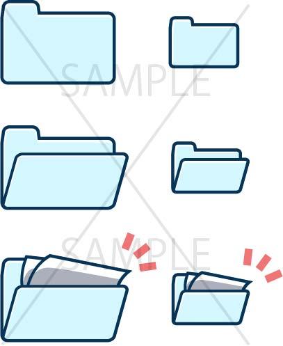 イラスト素材:パソコンのフォルダ青色系サンプル01