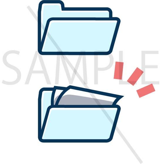 イラスト素材:パソコンのフォルダ青色系サンプル02