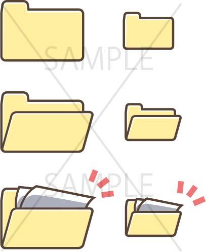 イラスト素材:パソコンのフォルダ黄色系サンプル01