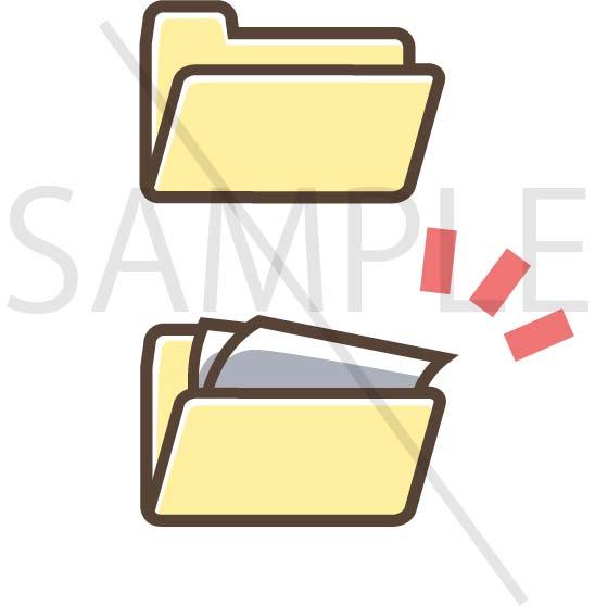 イラスト素材:パソコンのフォルダ黄色系サンプル02