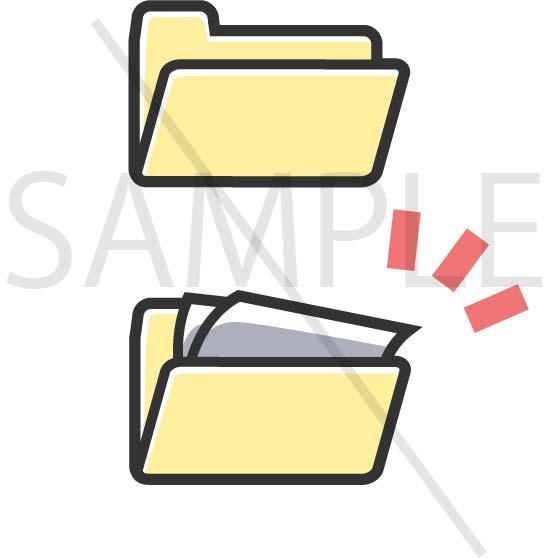 イラスト素材:パソコンのフォルダ灰色系サンプル02