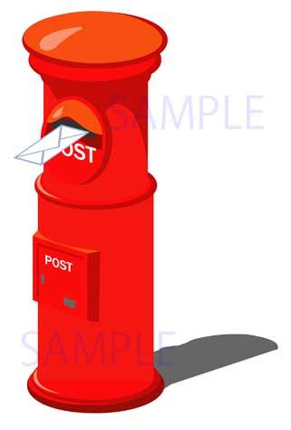イラスト素材:なつかしの赤い郵便ポストのサンプル画像01