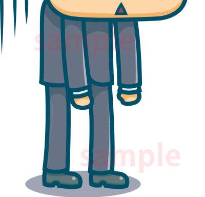 イラスト素材:叱られるサラリーマンがっかりの体と足元