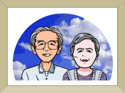 額入り祖父母の似顔絵の様子01