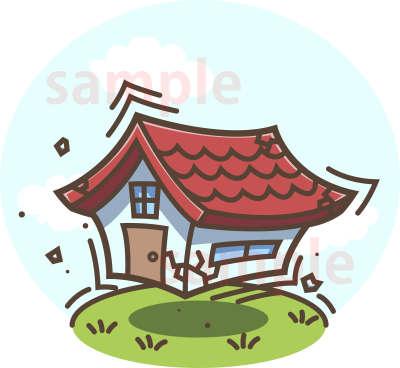 イラスト素材:地震で揺れる家 全体図