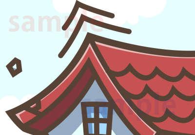 イラスト素材:地震で揺れる家 屋根アップ