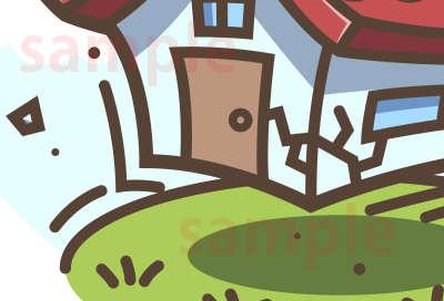 イラスト素材:地震で揺れる家 はねているところ
