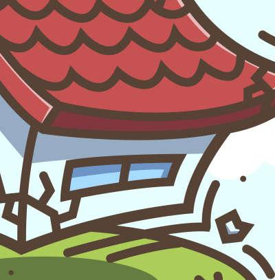 イラスト素材:地震で揺れる家 地面部分