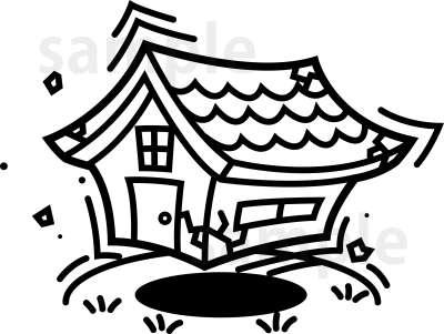 イラスト素材:地震で揺れる家 モノクロ全体図