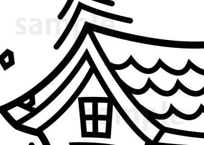 イラスト素材:地震で揺れる家 モノクロ屋根部分