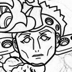 ボディビルダーのヘラ●ライスト風似顔絵のできるまで 線を引いているときの顔アップ