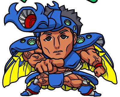 ボディビルダーのヘラ●ライスト風似顔絵のできるまで 青い影を「乗算」にした変化