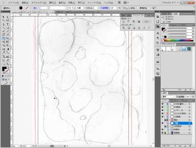 牛柄素材制作風景:下絵を取り込んでAIに貼り付ける