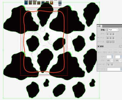牛柄素材制作風景:うし模様を位置合わせ