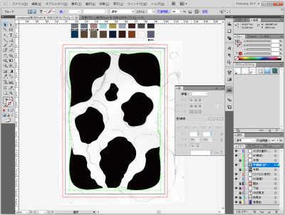 牛柄素材制作風景:枠の線でマスキング