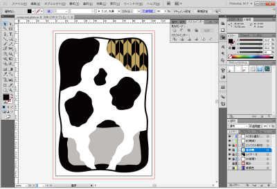 牛柄素材制作風景:和風の柄を牛柄の中に配置する