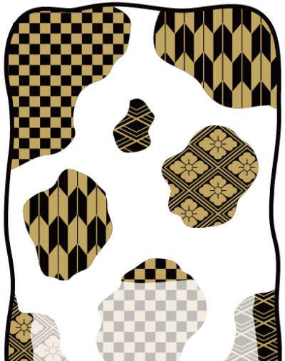 牛柄素材制作風景:金色和柄の牛柄ポストカード完成!