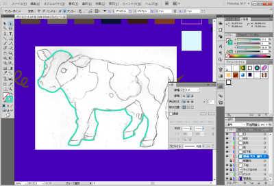 牛のイラスト制作中:線を引いているところ