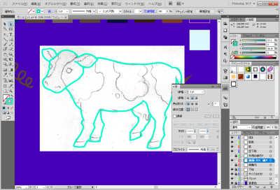 牛のイラスト制作中:外側の線完成