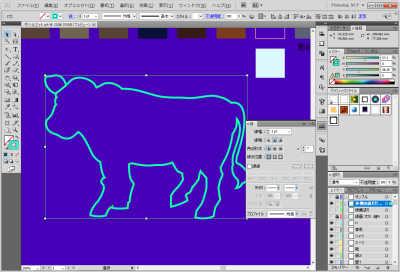 牛のイラスト制作中:外側の線だけ選択