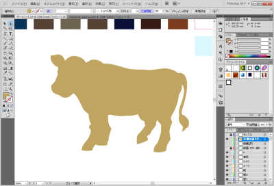 牛のイラスト制作中:線を統合して塗りへ