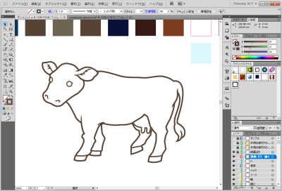 牛のイラスト制作中:細かい線も完成