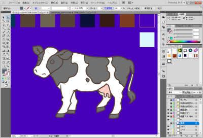 牛のイラスト制作中:色を塗る