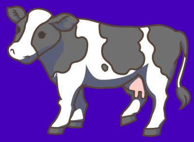牛のイラスト制作中:ウシの影をつけたところ