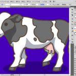 牛のイラスト制作中:ウシの影