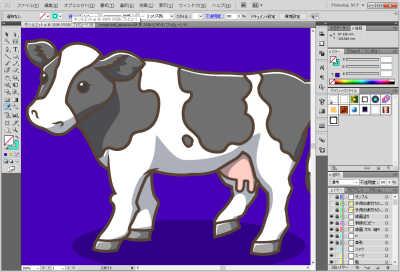 牛のイラスト制作中:光をつけたところ