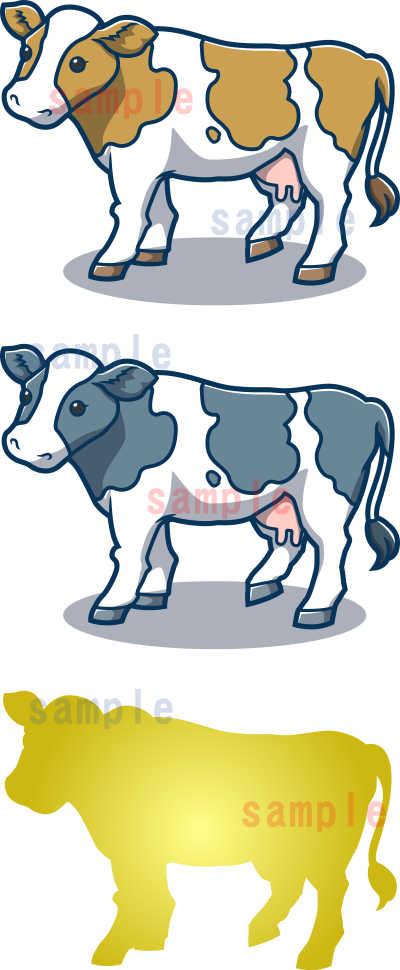 カワイイ牛のイラスト-青色系-全体見本
