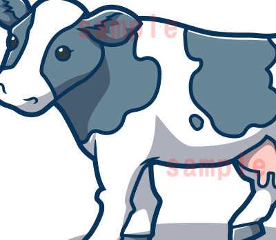 カワイイ牛のイラスト-青色系-ホルスタイン腹の部分