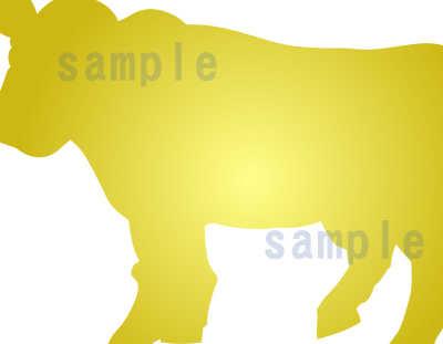 カワイイ牛のイラスト-青色系-金の牛のアップ