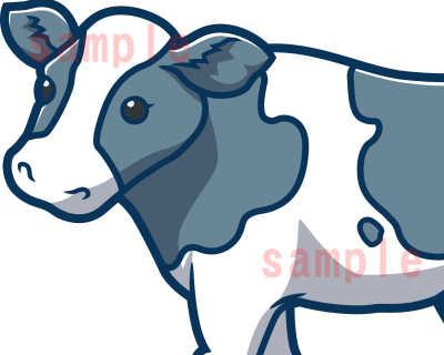 カワイイ牛のイラスト-青色系-ホルスタイン顔アップ