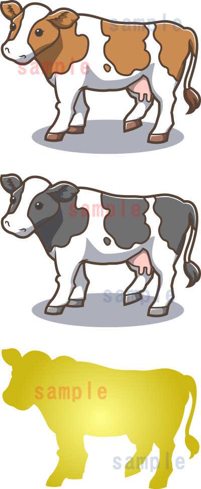 カワイイ牛のイラスト-茶色系-全体見本