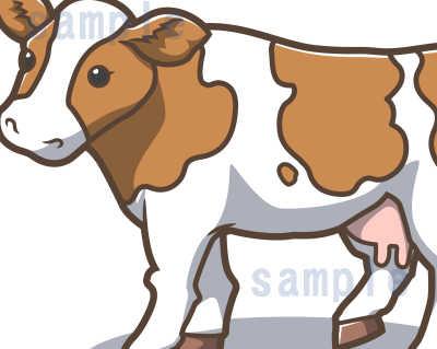 カワイイ牛のイラスト-茶色系-ジャージー牛の部分