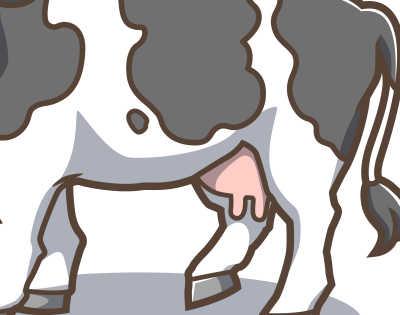 カワイイ牛のイラスト-茶色系-ホルスタイン腹の部分