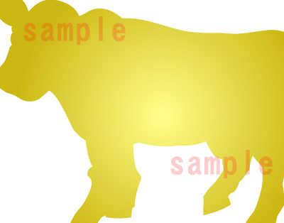カワイイ牛のイラスト-茶色系-金の牛のアップ
