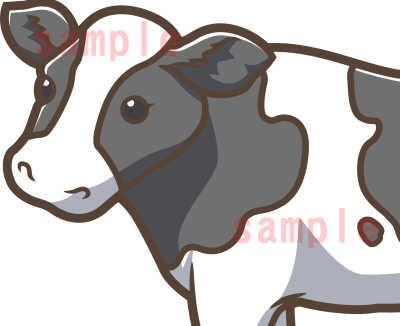 カワイイ牛のイラスト-茶色系-ホルスタイン顔アップ