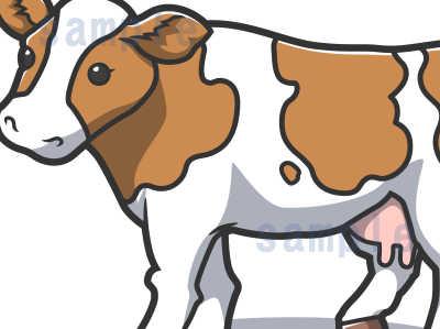 カワイイ牛のイラスト全体見本ジャージー牛の部分