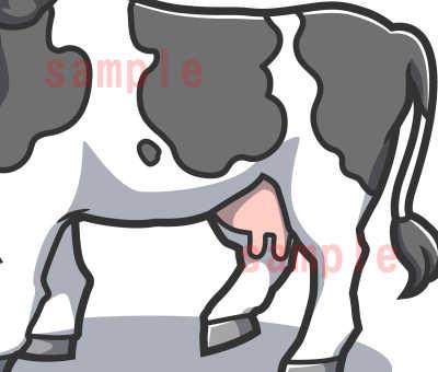 カワイイ牛のイラスト全体見本ホルスタイン腹の部分