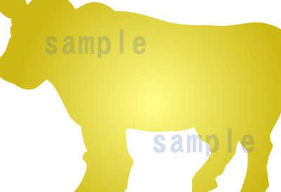 カワイイ牛のイラスト全体見本金の牛のアップ