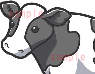 カワイイ牛のイラスト全体見本ホルスタイン顔アップ